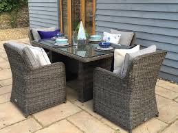 grey rattan dining table. venice 1.5 metre rectangular grey rattan dining table and 4 club chairs set venice-150 a