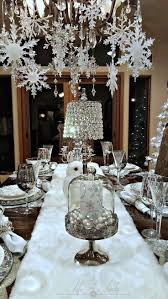 Snowflakes and Baubles Tablescape. Christmas Chandelier DecorDiy Christmas  Table ...