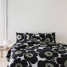 marimekko unikko black bedding at dotmaison