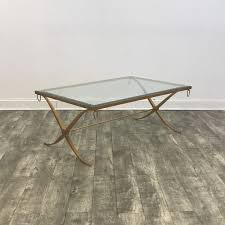 chic brass glass coffee table by