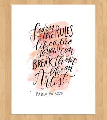 artist rules quote calligraphy art print art prints posters