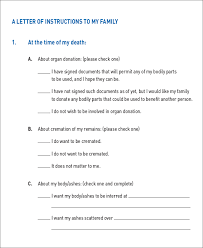 Letter of Instruction to Family Care Plan