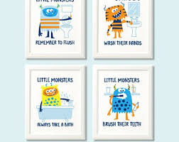 bathroom rules for kids. Contemporary Rules Monster Print Set Bathroom Rules Prints Kids Monster  Childrens Decor Intended Bathroom Rules For Kids B