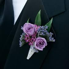 lavender and purple boutonniere