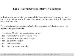 Bank Teller Job Interview Questions Bank Teller Supervisor Interview Questions