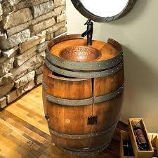 wine barrel vanity converted whiskey sink