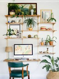 home office decor computer. Small Home Office Decor Ideas With Hanging Shelves Plants And Floating Wood Desk Wall Mounted Computer Screen Table Lamp Furniture