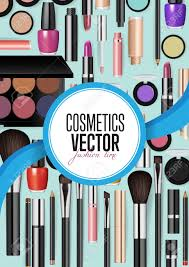 modern cosmetics accessories concept diffe instruments for professional makeup vector ilrations set on turquoise background