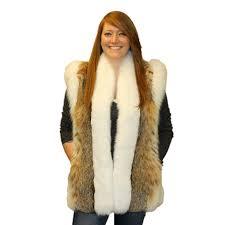 women s bobcat lynx cat fur vest shadow fox trim