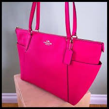 norway coach ava tote hot pink ruby pebble leather gold f37216 large purse diaper bag 889532147052