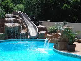 Exterior Natural Stone Swimming Pool Waterfall Plantings Paver