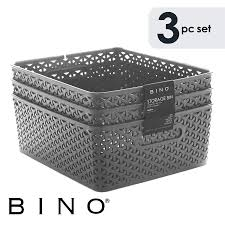Amazoncom Bino Woven Plastic Storage Basket Medium 3 Pack Grey