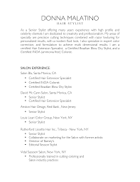 Nice Salon And Hair Stylist Resume Sample With List Of Work