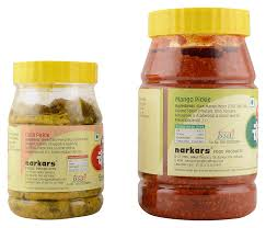 narkars chandrakant mango pickle and green chilly pickle bo of 2 amazon in grocery gourmet foods