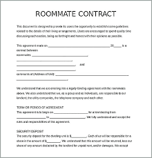 Roommate Agreement Contracts Free Roommate Agreement Form Lease Sample College Contract