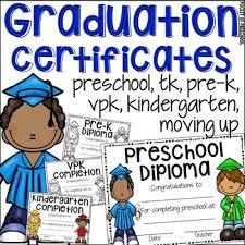Preschool Graduation Certificate Editable Editable Preschool Diploma Completion Pre K Tk Vpk Kinder