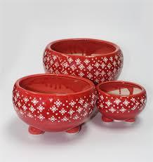 round shape ceramic pots with feet