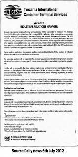 industrial relations manager tayoa employment portal job description