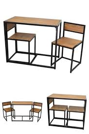 dining table 2 chairs set small kitchen breakfast bar black steel flat packed