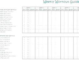 Free Printable Weekly Workout Chart Donatebooks Co