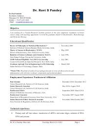 English Resume Template Awesome Dr Ravi S PandeyResume For Assistant Professor Research Scientist