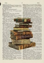 old books printed on old dictionary pages