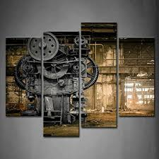 4 Panel Wall Art Metallurgical Firm Waiting For A Demolition Machine Old  Factory Painting Pictures Print On Canvas Architecture The Picture For Home  Modern ...