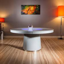 Round Table Special Large Round Grey Gloss Dining Table Glass Lazy Susan Led Lighting