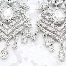 diamante silver chandelier earrings