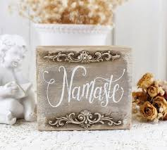 namaste sign small shabby chic wooden block signs gift for yoga rustic home decorations calligraphy
