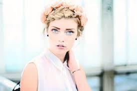 Tapety Tvář ženy Model Dlouhé Vlasy Modré Oči Při Pohledu Na