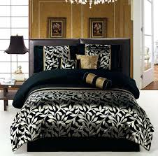 black queen size comforter set white and gold