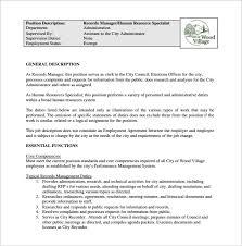 Personnel Management Job Description 10 Human Resource Job Description Templates Free Sample