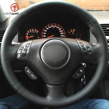 lqtenleo black genuine leather diy hand stitched car steering wheel cover for honda accord 7