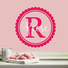 all decals kids name initial wall decal girls scalloped circle monogram wall decal