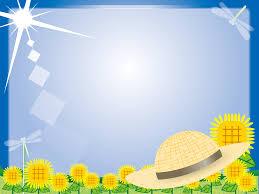 フリーイラスト 麦わら帽子とひまわり畑の夏のフレーム パブリック