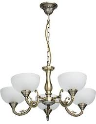 camilla and marc classic glass chandelier brass coloured antique 2 bells metal diameter 60 cm