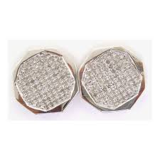 Mens Designer Earrings Amazon Com Aienid 10k White Gold 0 15ct Round Micro Pave