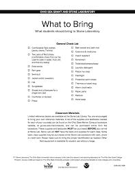 Textbooks Supplies Packing Checklist Ohio Sea Grant