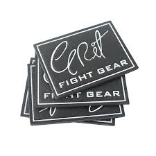 custom embossed fight gear name black genuine leather patches clothing labels