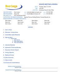 Agenda For Meetings Format Board Meeting Agenda Template 3 Template Format