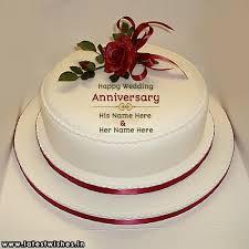 Write Name On Happy Wedding Anniversary Rose Cake