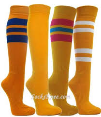 golden yellow cotton knee socks red bright blue striped for softball