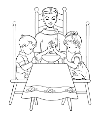 Small Picture Thanksgiving Dinner Coloring Page Sheets Mom and kids say Grace