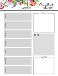 Weekly Planner Template Pdf Excel Meal Online Calendar