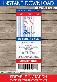Printable Concert Ticket Template Gorgeous Baseball Ticket Invitation Template Baseball Invitations