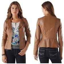 details about white house black market brown leather jacket new with tags xl