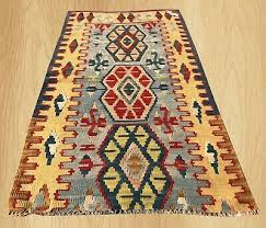 hand knotted vintage traditional turkish wool kilim area rug 4 x 3 ft 3948