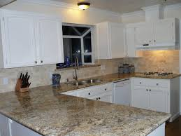 Classic White Kitchen Cabinet Black Brick Style Kitchen Backsplash