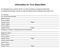 Emergency Information Form For Babysitters Printable Familyeducation